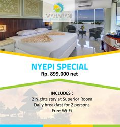 7 DAYS TO GO! HAVE YOU PLANNED WHERE YOU ARE STAYING FOR NYEPI?  BOOK OUR NYEPI SPECIAL NOW!!  Booking Period : Immediate - 26 March 2017 Travel Period : 27 - 29 March 2017  Note :  Can't combine with other special offers Valid for Domestic and KITAS Holder  Reservation : Email : sales2@baligardenbeachresort.com Phone : +62361 752725