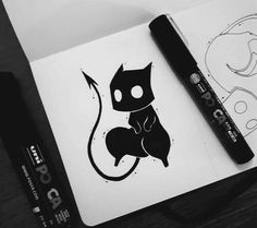 Cats Design Tattoo Artworks 23 Ideas For 2019 Illustration Tattoo, Illustration Sketches, Drawing Sketches, Posca Art, Art Manga, Creepy Art, Art Design, Doodle Art, Cat Art