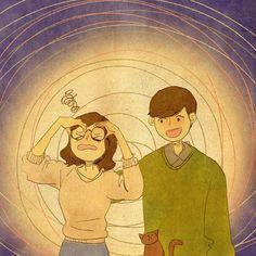 """I wore his glasses. I'm so dizzy!"" hahaha"