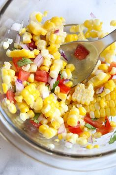Corn, lime, cilantro and tomatoes are great with chips or over your favorite tacos!/Delicious. Did not change a thing and I will make again.