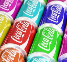 Colorful Coke Cans / The Coca - Cola's logo's color is same with white. but the background are not same. The background is colorful.