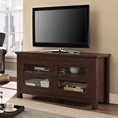 Walker Edison Furniture Company Black 44 in. Traditional Wood TV Stand Entertainment Center - The Home Depot Home Depot, Espresso, Tv Stand And Entertainment Center, Entertainment Area, Tv Media Stands, Tv Stand Console, Design Logo, Flat Panel Tv, Living Room Storage