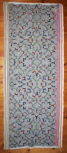 Shipibo embroidered textile, white:Shipibo Conibo Handicrafts:Shamanic Art & Music:Shop:Home:sensatonics