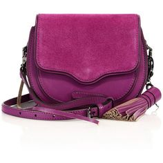 Rebecca Minkoff Suki Mini Leather & Suede Saddle Crossbody Bag (21865 RSD) ❤ liked on Polyvore featuring bags, handbags, shoulder bags, apparel & accessories, purple rain, leather handbags, leather shoulder bag, leather crossbody, purple leather handbag and cross-body handbag