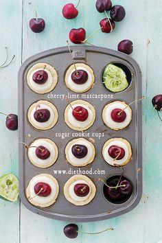 Cherry Lime Mascarpone Sugar Cookie Cups Cherry Lime Mascarpone Cookie Cups
