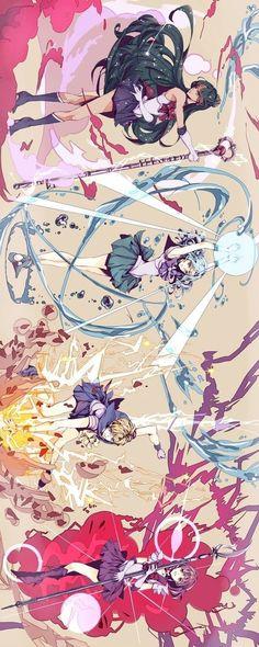 外部太陽系戦士 Sailor Pluto, Neptune, Uranus, Saturn by ひな - Sailor Moon fanart Sailor Moons, Arte Sailor Moon, Sailor Moon Fan Art, Sailor Pluto, Sailor Neptune, Sailor Jupiter, Manga Anime, Film Manga, Fanart Manga