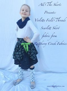 Violette Field Threads Scarlett Skirt and leg warmers sewn by Skirt Fixation using fabric from Raspberry Creek Fabrics.