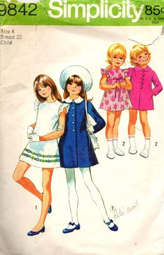 Simplicity 9842 Girls Mod Dress and Coat  Vintage Sewing Pattern by mbchills on Etsy