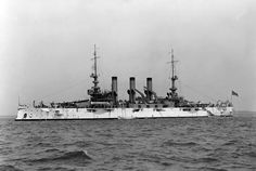 USS Minnesota (BB-22) battleship at anchor in 1907