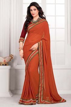 Take a look:Orange with Red colour saree