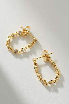 Anthropologie Erin Chain Front-Back Earrings Bali Jewelry, Crystal Jewelry, Beaded Jewelry, Women Jewelry, Fashion Jewelry, Front Back Earrings, Piercings, Gold Earrings Designs, Bead Jewelry
