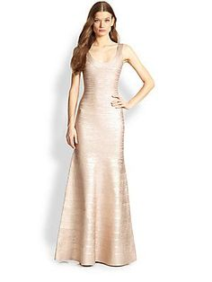 White and Gold Wedding. Gold Bridesmaid Dress. Soft and Romantic. Herve Leger Foil-Printed Bandage Gown