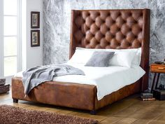 Arthur Tall Faux Leather Bed : Beds & headboards by Living It Up