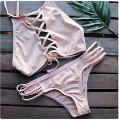 Pink Strappy Cross Bikini Top And Hipster Bottom #216131