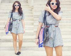 Vintage Romper, Zara Belt, Possibility Flats, Super Sunglasses