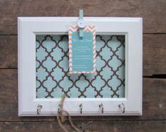 Key Holder Memo board Home Decor White Frame by TheHopeStack