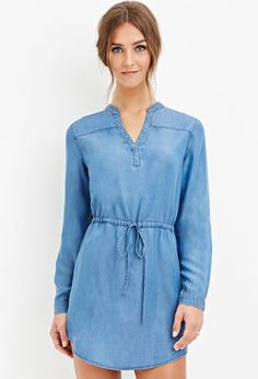 Drawstring Chambray Dress | Forever 21 - 2000163106
