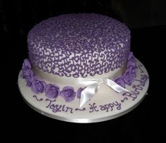Ivory and Purple Birthday Cake Purple Birthday, Birthday Cake, Frosting, Icing, Chocolate Stout, Celebration Cakes, Ivory, Touch, Cream