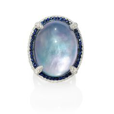 1.57ct Diamond, Sapphire, White Topaz, Lapis Lazuli and Mother of Pearl 18k White Gold and Black Rhodium Ring