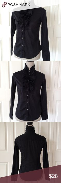 J. Crew Ruffle Detailed Button Down Top Fabulous ruffle detail adorn this light weight 100% cotton black button down long sleeve shirt by J. Crew.  Excellent condition.🎀 J. Crew Tops Tees - Long Sleeve