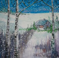 Winter Scene Original Painting by Sally-Anne Adams: Artist #artist #sally-anne adams #painting
