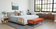 Clay Taupe Fabric King-Sized Bed Frame w/ Headboard | Tessu | Article King Beds, Queen Beds, West Elm Bedroom, Adjustable Bed Frame, Wood Nightstand, Upholstered Beds, High Quality Furniture, Mid Century Modern Furniture, Bed Sizes