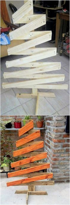 This image is sharing out the amazing use of the wood pallet for the tree art designing work that is premium carried out with the wood pallet finishing taste. This creation do adds up the flavor of the pallet planks of wood in the suitable zig zag form of work. You would be finding it so imaginary amazing. #woodworkingprojects Pallet Tree, Pallet Christmas Tree, Christmas Wood, Christmas Projects, Holiday Crafts, Christmas Trees, Wood Projects That Sell, Diy Wood Projects, Woodworking Projects