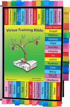 The Virtue Training Bible is tool that allows parents and children (and anyone that loves the Word of God) to go directly to the pages of Scripture for instruction in 42 virtues.  VTB Scriptures highlight God's character, Jesus' perfect example, and our reliance on the Holy Spirit to produce each virtue in our lives.