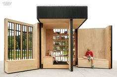 lending library - This lending library kiosk by Atelier Kastelic Buffey opens up to create a charming public space for reading and relaxing. The 'Story Pod. Mobile Architecture, Library Architecture, Architecture Design, Toronto Architecture, Public Architecture, Architecture Panel, Architecture Diagrams, Architecture Interiors, Architecture Portfolio