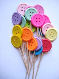 24 Buttons Party Picks Cupcake Toppers by ThePrettyPaperShop, $3.99