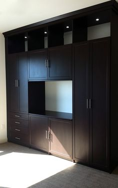 Dark Wood Entertainment Center With Lighted Shelving.
