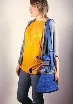 Dalek Bag Dalek Purse Blue Felt Bag Dr Who Geekery by krukrustudio $190