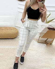 Shop High Waist Grid Paperbag Waist Casual Pants right now, get great deals at joyshoetique Swag Outfits For Girls, Teen Fashion Outfits, Mode Outfits, Cute Casual Outfits, Stylish Outfits, Fashion Dresses, Casual Pants, Couple Outfits, Trend Fashion
