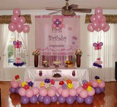 Girls Party Birthday Card Decoration Table Decorations House