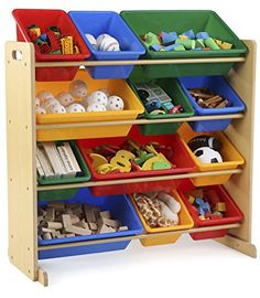 Whether it's the living room, playroom, or your child's bedroom, Tot Tutors has just the right product to help your family grow. Tot Tutors Kids' Toy Storage Organizer with 12 Plastic Bins, Natural/Primary (Primary Collection).
