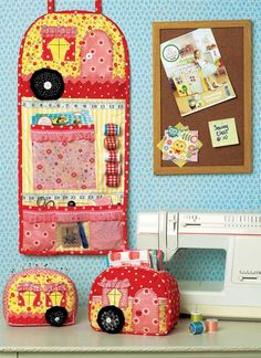 Add some sweet vintage flair to your sewing room with this pattern set that includes three pieces to help organize your sewing room. The cute pincushion an
