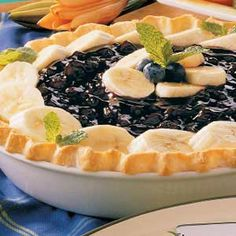 Banana Blueberry Pie - seriously one of the best pies EVER.     My Thanksgiving is not complete without this. (I use Dream Whip, rather than Cool Whip!)