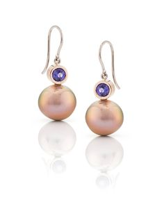 Natural purple sapphires and Rare color Edison Pearls from the Daniel Moesker Pearl collection