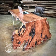 Our custom waterfall wood slab office desk has a live edge wood with a fold. The fold of the wood slab create a waterfall effect and also acts as a leg. Live Edge Furniture, Resin Furniture, Log Furniture, Furniture Stores, Furniture Ideas, Antique Furniture, Modern Furniture, Furniture Design, Furniture Websites