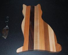 Cat Shaped Cutting Board | Handmade Wooden Cat Shaped Cutting Board with FREE Spreader Maple Che ...