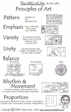 Printable art materials...principles of design and art