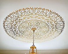 Ceiling stencils, large Medallion stencils for walls and ceilings. Cutting Edge stencils
