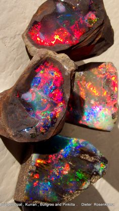 ENTER THE FAIR ♥ Minerals & Mining Dept. ♥ Boulder Opal from three different opal mining areas , Kurran, Bullgroo and Pinkilla , all located in Queensland , Australia