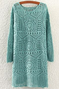 Solid Color Openwork Long Sleeve Sweater