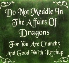 Do Not Meddle In The Affairs Of Dragons. For You Are Crunchy And Good With Ketchup.