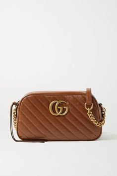 Brown Gucci Bag, Quilted Leather, Tan Leather, Small Shoulder Bag, Leather Shoulder Bag, Gucci Brand, Gg Marmont, Small Quilts