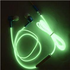 Glow In The Dark Earphones Luminous  3.5MM Glowing Headset In-Ear Stereo Sport Earpiece With Mic For iPhone567 Mp3 4 xiaomi