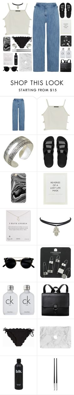 """BLESSED WITH BEAUTY"" by emmas-fashion-diary ❤ liked on Polyvore featuring Steve J & Yoni P, FitFlop, Samsung, ...Lost, Dogeared, Topshop, Calvin Klein, Monki, Marysia Swim and Christofle"