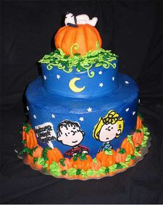 I am really surprised by how few Great Pumpkin cakes their are out there, but after a bit of searching I found a well themed cake that will make a great addition to any Halloween party. The cake wa… Snoopy Halloween, Happy Halloween, Halloween Quilts, Creepy Halloween, Bolo Snoopy, Snoopy Cake, Great Pumpkin Charlie Brown, It's The Great Pumpkin, Halloween Torte