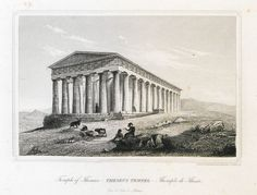 Temple of Hephaestus, Athens. - Album zur Erinnerung an Athen - TRAVELLERS' VIEWS - Places – Monuments – People Southeastern Europe – Eastern Mediterranean – Greece – Asia Minor – Southern Italy, century Southern Italy, Acropolis, Athens Greece, Album, Ancient Greece, Monuments, Mythology, Temple, Asia